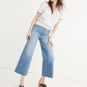 Madewell wide leg button crop front jeans